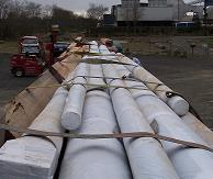 Wrapped masts ready for shipment